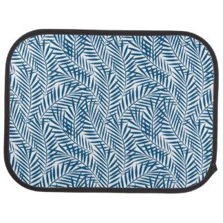 Tropical blue palm leaf car mat