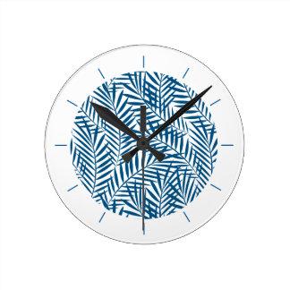 Tropical blue palm leaf clocks