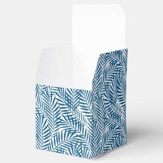 Tropical blue palm leaf favor box