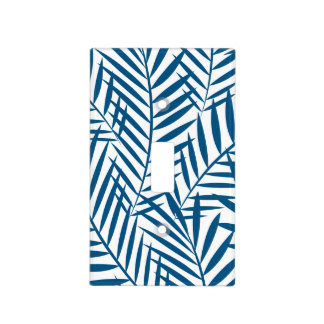 Tropical blue palm leaf light switch cover
