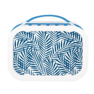 Tropical blue palm leaf lunch box