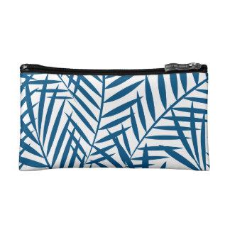 Tropical blue palm leaf makeup bag