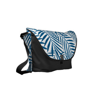 Tropical blue palm leaf messenger bag