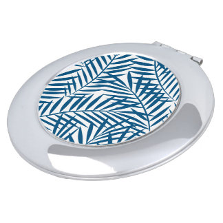 Tropical blue palm leaf mirrors for makeup