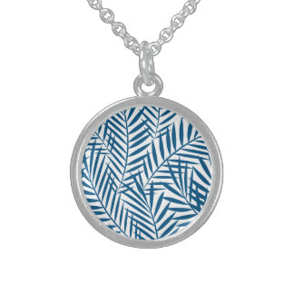 Tropical blue palm leaf sterling silver necklace