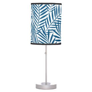 Tropical blue palm leaf table lamp