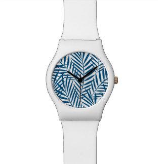 Tropical blue palm leaf watch