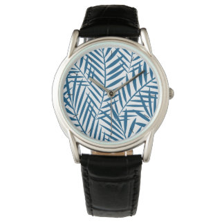 Tropical blue palm leaf watch