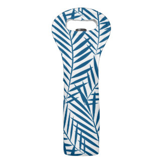 Tropical blue palm leaf wine bag