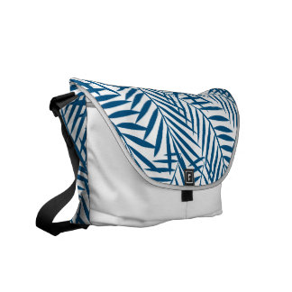 Tropical blue palm tree leaves messenger bags