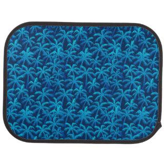 Tropical blue palm trees car mat