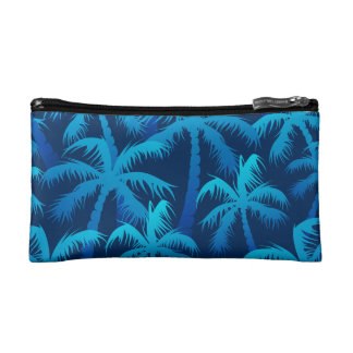 Tropical blue palm trees cosmetic bag