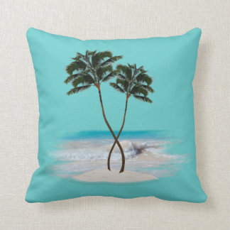 Tropical Blue Palm Trees Decorative Throw Pillow