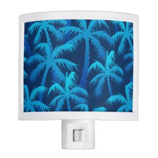 Tropical blue palm trees night lite