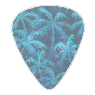 Tropical blue palm trees pearl celluloid guitar pick
