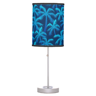 Tropical blue palm trees table lamp