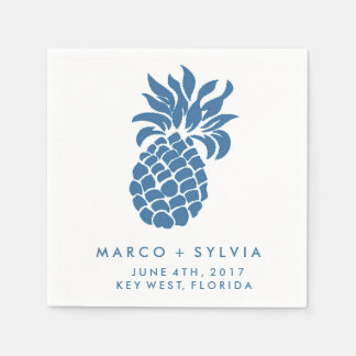 Tropical Blue Pineapple Beach Wedding Napkins Disposable Napkins