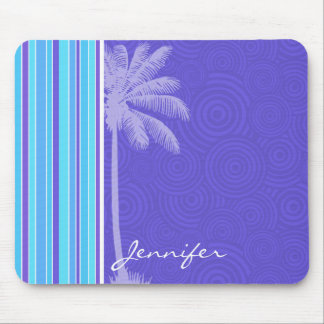 Tropical Blue & Purple Stripes; Striped Mouse Pads
