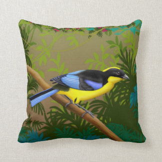 Tropical Blue Winged Mountain Tanager Pillow