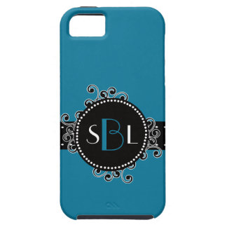Tropical Blue  with Fancy Swirl Girly Tag Case For The iPhone 5