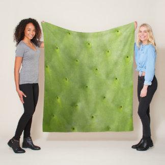 Tropical Botanical Green Cactus Fleece Blanket