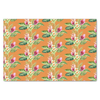 Tropical Botanical Leaves Hibiscus Any Color Tissue Paper