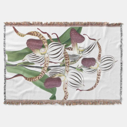Tropical Botanical Orchid Flowers Floral Throw