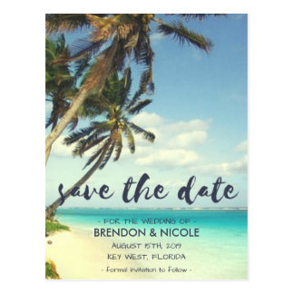 Tropical Breeze Beach Wedding Save the Date Postcard