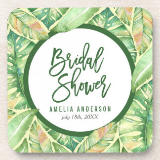 Tropical Bridal Shower Green Watercolor Leaves Coaster