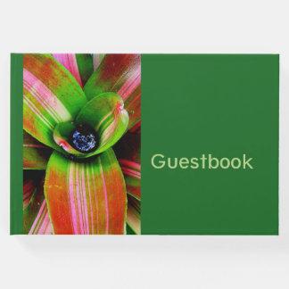Tropical bromeliad foliage guest book