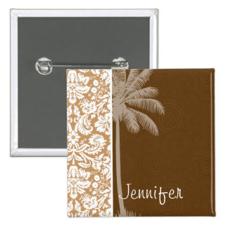 Tropical Brown Damask Pattern Buttons