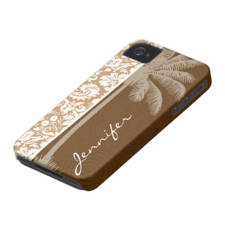 Tropical Brown Damask Pattern iPhone 4 Cover