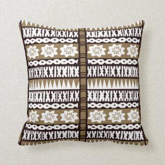 "Tropical Brown Tapa Cloth 20"" x 20"" Pillow"