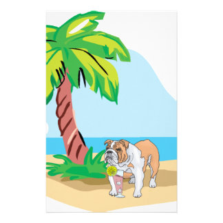 tropical bulldog customized stationery