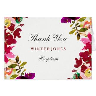 Tropical Burgundy Floral Baptism Thank You Card