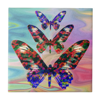 Tropical butterflies design decorative tile