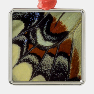 Tropical butterfly close-up Silver-Colored square ornament