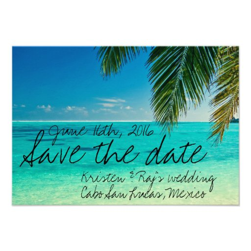 Tropical Cabo San Lucas, Mexico Save the Date Custom Announcements