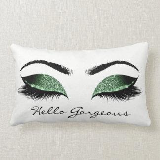 Tropical Cali Green Makeup Lashes Hello Gorgeous Lumbar Pillow