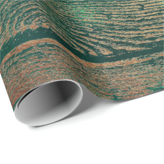 Tropical Cali Woodland Green Gold Rustic Wood Wrapping Paper