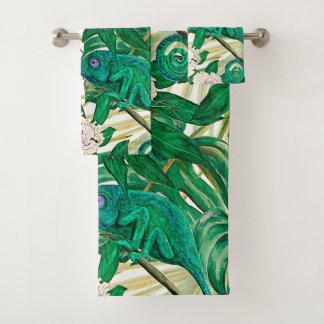 Tropical Camellias & Chameleons Bath Towel Set