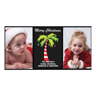 Tropical Candy Cane Palm Tree Photo Christmas Card