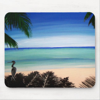 Tropical Caribbean Beach Island Mouse Pad Art