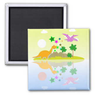 Tropical Cartoon Dinosaurs Island Fridge Magnet