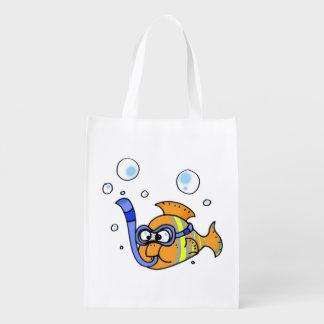 tropical cartoon fish reusable grocery bag