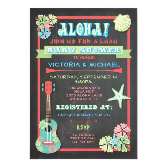Tropical Chalkboard Luau Baby Shower invitations