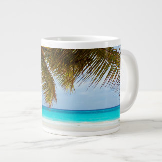 Tropical Chilling Beach Scene Large Coffee Mug