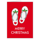 Tropical Christmas greeting card with flip flops