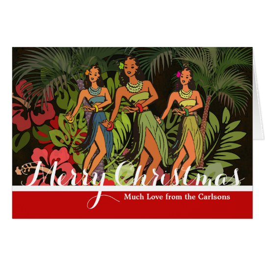 Tropical Christmas Holiday Card Custom Template
