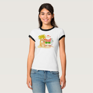 Tropical Christmas in July Santa Reindeer Tee